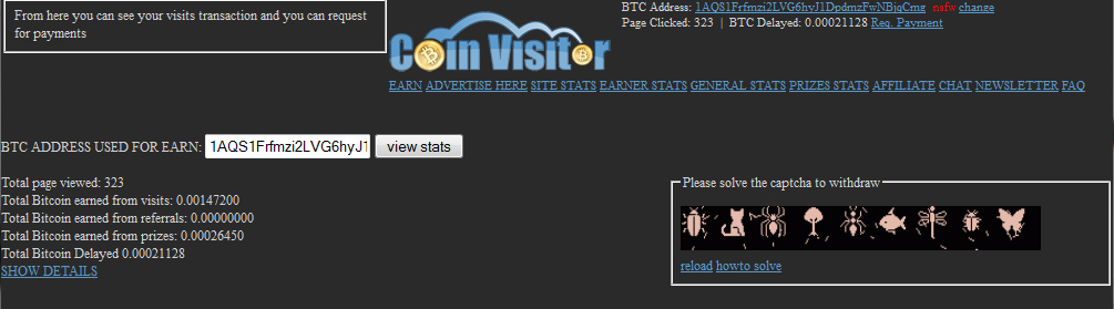 Screenshot of CoinVisitors Payment Screen